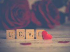 LOVE spelled out in Scrabble letters