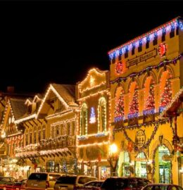 Leavenworth all lite up with Christmas Lights